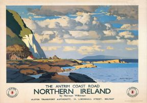 Antrim Coast Road, Northern Ireland. Vintage Ulster Transport Irish Travel poster by Norman Wilkinson